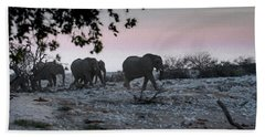 Beach Towel featuring the digital art The African Elephants by Ernie Echols