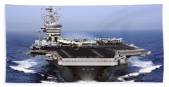 The Aircraft Carrier Uss Dwight D Beach Towel