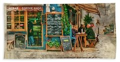 The Albar Coffee Shop In Alvor. Beach Towel