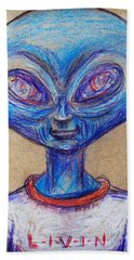 Beach Towel featuring the drawing The Alien Is L-i-v-i-n by Similar Alien