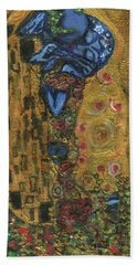 Beach Sheet featuring the painting The Alien Kiss By Blastoff Klimt by Similar Alien