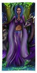 The Animal Goddess Fantasy Art Beach Towel