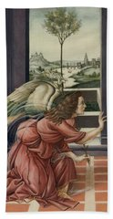 The Annunciation After Botticelli Beach Towel by Yvonne Wright