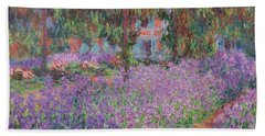 The Artists Garden At Giverny Beach Towel by Claude Monet