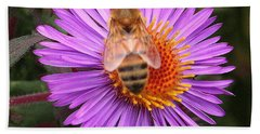 The Aster And The Bee Beach Towel