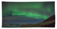 The Aurora Borealis Over Iceland Beach Towel