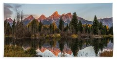 Beach Towel featuring the photograph The Autumn Glow At Schwabacher's by Yeates Photography