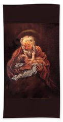 Beach Towel featuring the painting The Baby Jesus - A Study by Donna Tucker