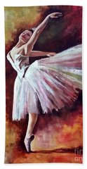 Beach Towel featuring the painting The Dancer Tilting - Adaptation Of Degas Artwork by Rosario Piazza