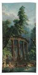 Beach Towel featuring the painting The Bathing Pool by Hubert Robert
