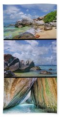 The Baths Virgin Gorda National Park Triptych Beach Sheet by Olga Hamilton