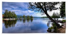 Beach Towel featuring the photograph The Beach At Covewood Lodge by David Patterson