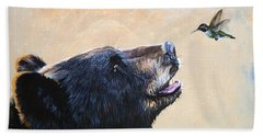 The Bear And The Hummingbird Beach Towel by J W Baker