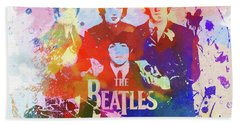 The Beatles Paint Splatter  Beach Towel