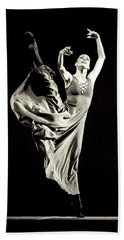 Beach Towel featuring the photograph The Beautiful Ballerina Dancing In Long Dress by Dimitar Hristov