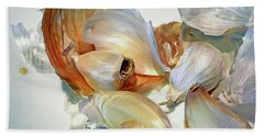 The Beauty Of Garlic Beach Sheet by Lynda Lehmann
