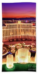 The Bellagio Fountains After Sunset Portrait Beach Towel by Aloha Art
