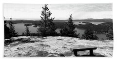 Beach Towel featuring the photograph The Bench Atop Turtleback by Lorraine Devon Wilke