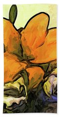 The Big Gold Flower And The White Roses Beach Towel