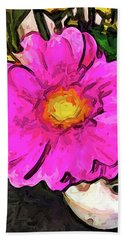 The Big Pink And Yellow Flower In The Little Vase Beach Towel