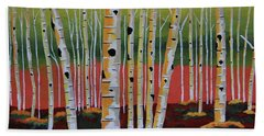The Birch Forest - Landscape Painting Beach Towel
