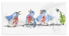 The Birds And The Bee Bird Art Watercolor Painting By Kmcelwaine Beach Towel