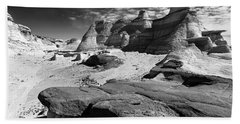 Beach Towel featuring the photograph The Bisti Badlands - New Mexico - Black And White by Jason Politte