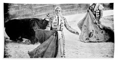 The Blond, The Bull And The Coup De Gras Bullfight Beach Towel