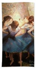 Beach Towel featuring the painting The Blue Ballerinas - A Edgar Degas Artwork Adaptation by Rosario Piazza