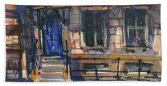 The Blue Door, New York Beach Towel by Kristina Vardazaryan