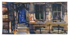The Blue Door, New York Beach Sheet by Kristina Vardazaryan