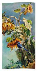Beach Towel featuring the painting The Blue Jay Who Came To Breakfast by Svitozar Nenyuk
