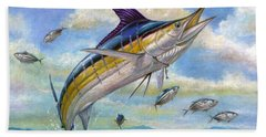 The Blue Marlin Leaping To Eat Beach Sheet
