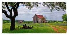Beach Towel featuring the photograph The Bluebonnet House by Linda Unger