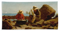 Beach Towel featuring the painting The Boat Builders - 1873 by Winslow Homer