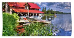 Beach Towel featuring the photograph The Boathouse At Covewood by David Patterson