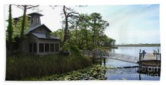 The Boathouse At Watercolor Beach Sheet by Megan Cohen