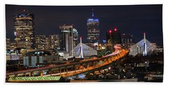 The Boston Skyline Boston Ma Full Zakim Beach Towel