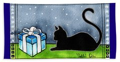 The Box Is Mine - Christmas Cat Beach Towel