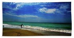 The Boy At The Beach  Beach Towel