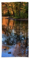 The Bright Colors Of Autumn, Quiet Evenings Are Reflected In The Waters Of The City Pond Beach Towel
