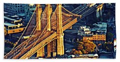 Beach Towel featuring the photograph The Brooklyn Bridge At Sunset   by Sarah Loft