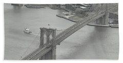 The Brooklyn Bridge From Above Beach Towel by Dyle Warren
