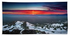 Beach Towel featuring the photograph The Burning Clouds At Crater Lake by William Lee