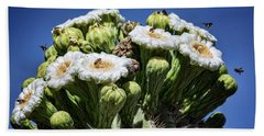 Beach Towel featuring the photograph The Busy Little Bees On The Saguaro Blossoms  by Saija Lehtonen