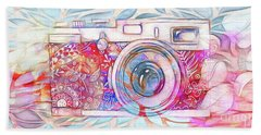 Beach Towel featuring the digital art The Camera - 02c8v2 by Variance Collections