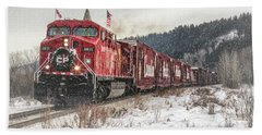 Beach Towel featuring the photograph The Canadian Pacific Holiday Train by Brad Allen Fine Art