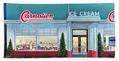 The Carnation Ice Cream Shop Beach Towel