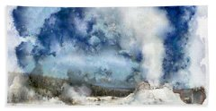 The Castke Geyser In Yellowstone Beach Sheet
