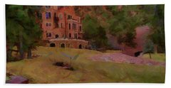 Beach Towel featuring the digital art The Castle by Ernie Echols